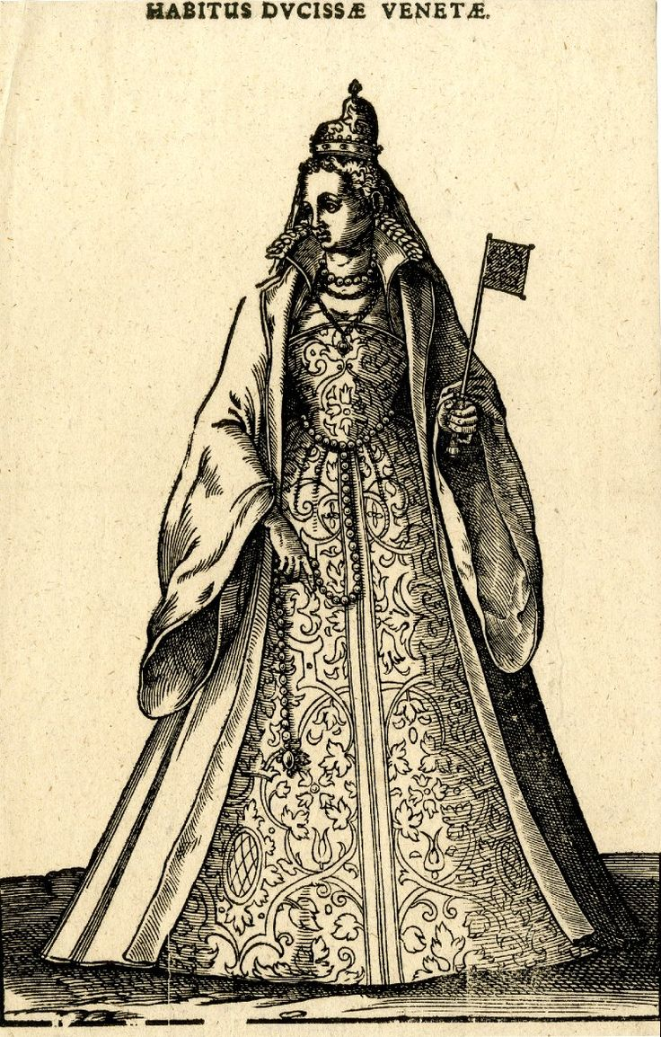 Plate 118: A Venetian dogaressa; whole-length figure in frontal view, the head turned to left; wearing a long cloak over a patterned dress; holding her belt in her right hand and a small handscreen fan in her left hand; illustration to Hans Weigel's 'Habitus Praecipuorum Populorum ... das ist Trachtenbuch', 2nd ed., Ulm: Kühn for Görlin, 1639. 1577 Woodcut and letterpress