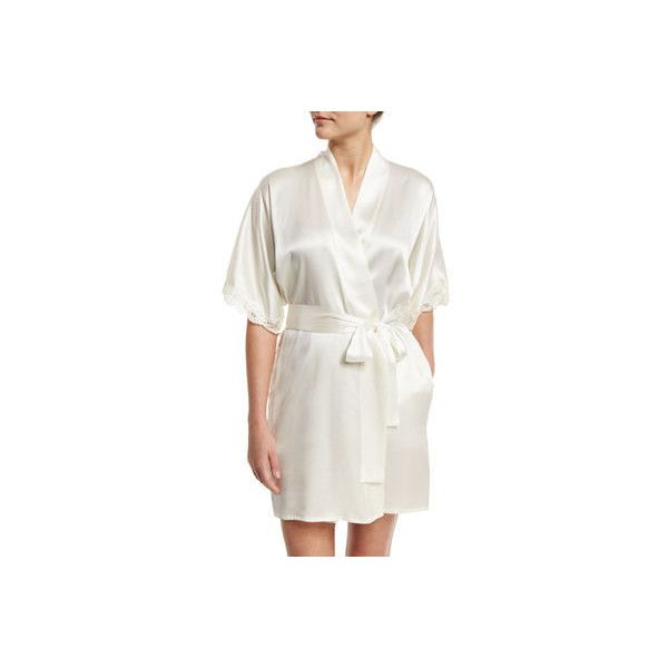 Christine Designs Bijoux Short Silk Robe ($320) ❤ liked on Polyvore featuring intimates, robes, white, bath robes, short sleeve robe, short bath robe, lace trim robe and silk bathrobe