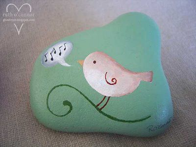 Darling bird painting on a rock!