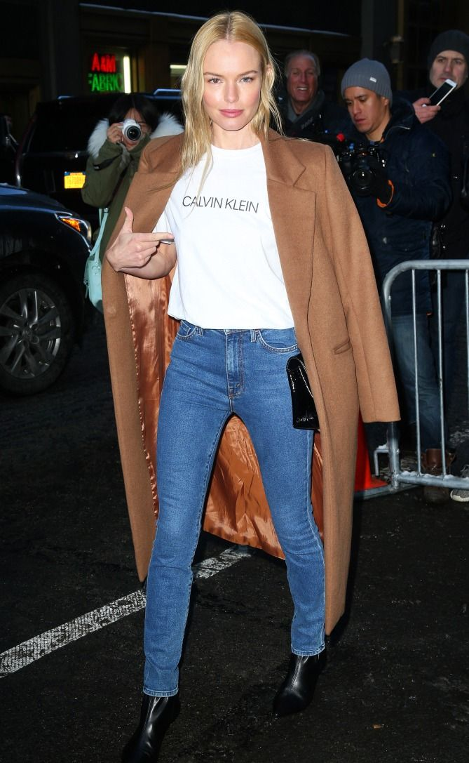 Kate Bosworth in a brown coat, Calvin Klein t-shirt, skinny jeans and booties - click through for more celebrity winter outfit ideas