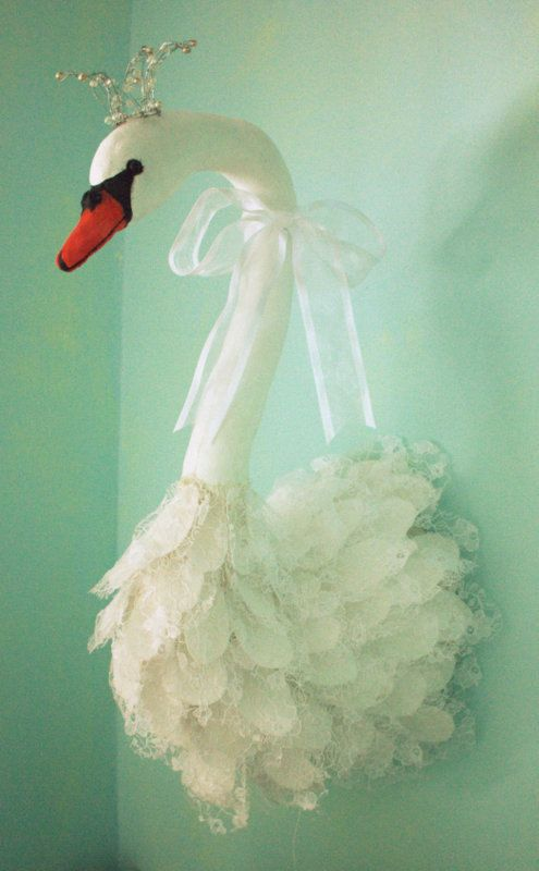 Swan wall decoration faux taxidermy