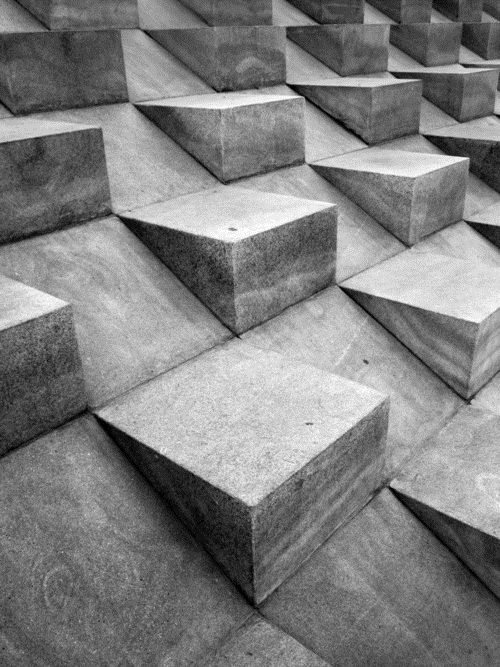 3D: This picture is a great example of FORM. It shows volume by the cement blocks popping up. It also is 3D because it looks like you can reach out your hand and touch it.