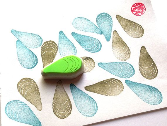 blue mussel hand carved rubber stamp. seashell by talktothesun