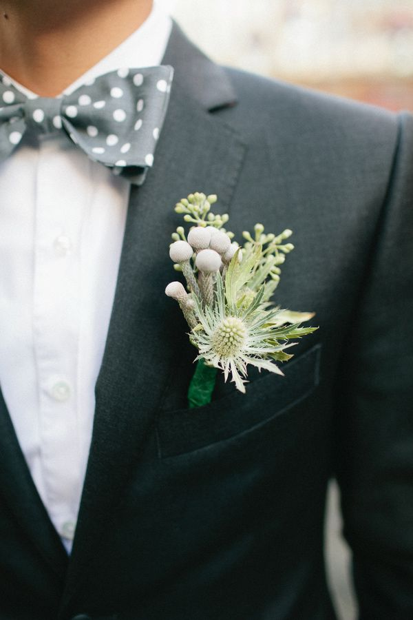muted green bout and gray bow tie - photo by Shannen Natasha - http://ruffledblog.com/metropolitan-garden-wedding/
