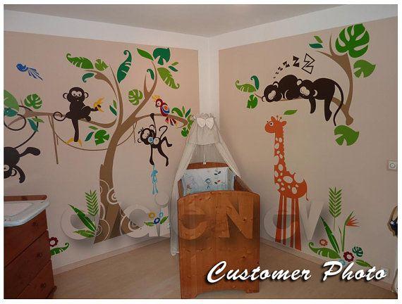 Dschungel Wall Decals  Affe auf dem Baum Wandsticker mit