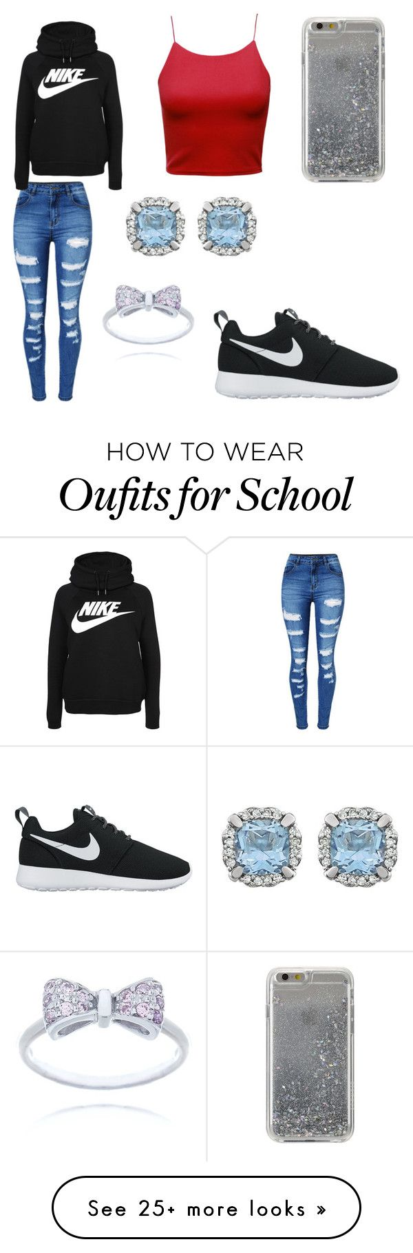 """WINTER AND HIGH SCHOOL STYLE"" by mgarcia-iii on Polyvore featuring WithChic, Agent 18 and NIKE"