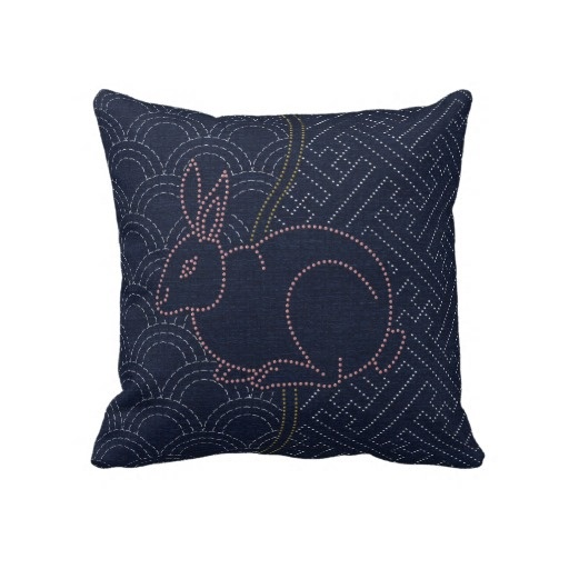 Japanese sashiko rabbit 2 pillow