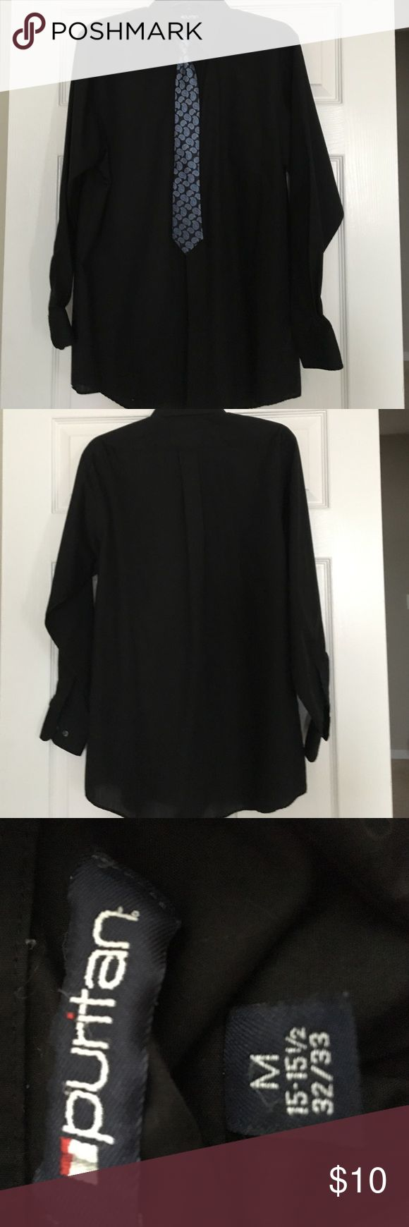 Boys Black Dress shirt with clip on tie, Size M Boys Black Dress shirt with clip on tie, Size M, excellent condition Puntan Shirts & Tops Button Down Shirts