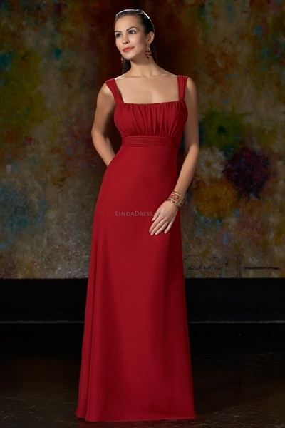 Cranberry Chiffon Square Gathered A-Line Bridesmaid Dresses