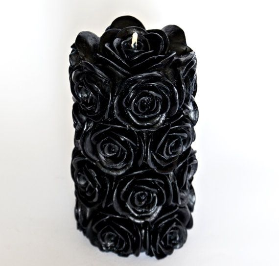 Sale! 20% OFF ! 17.6 oz, Beeswax candle,Rose candle,Black candle,Decorative candle,Sculpture candle,Pillar candle,Goth decor,Home decor,Gift