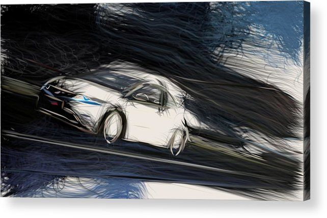 15 Honda Civic Type R Draw Carstoon Concept Acrylic Print By Carstoon Com Bring This Artwork To Life With The Stylish Line In 2020 Honda Civic Type R Honda Civic Civic