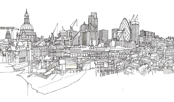 Pen and Ink Drawings of London on the Pantone Canvas Gallery