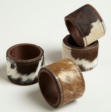 Cowhide Napkin Rings eclectic napkin rings