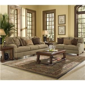 Klaussner Walker Set With Exposed Wood Feet   Knoxville Wholesale Furniture    Love Seat Knoxville,
