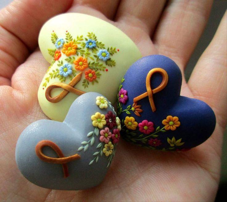 Polymer clay Hearts...