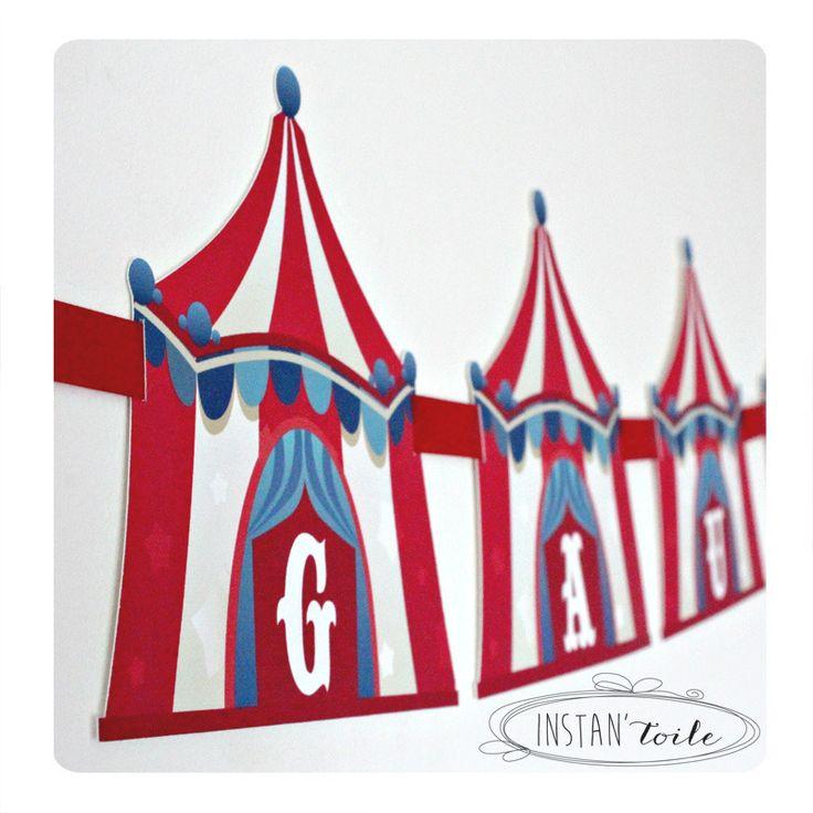 Guirlande à personnaliser forme chapiteau de cirque : Décoration pour enfants par instanpapier