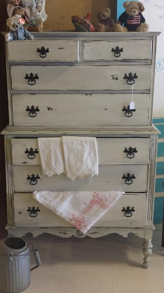 Shabby Chic Grey Highboy at www.facebook.com/...: