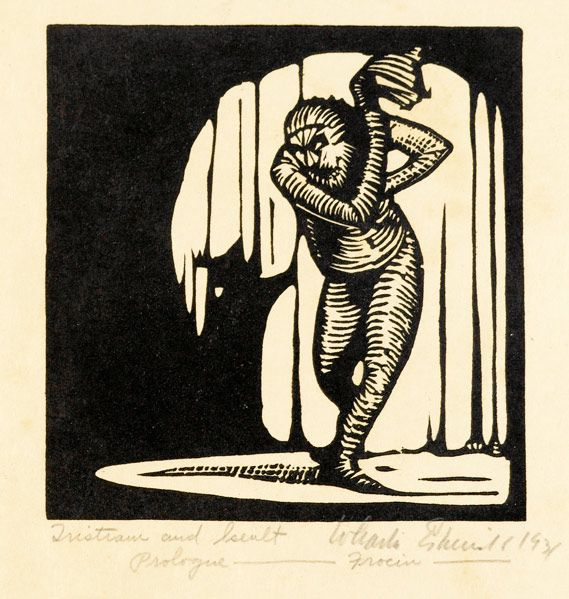 """WHARTON ESHERICK Woodblock print, """"Prologue Frocin,"""" 1931. Signed, titled and dated in pencil. Image: 4 3/4"""" x 4 1/2"""" // Rago Arts"""