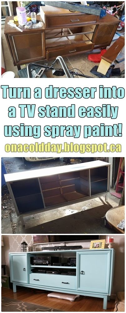 On A Cold Day: Retro Dresser Turned Spray Painted TV Stand