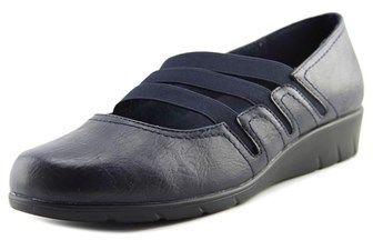 Easy Street Shoes Birdie Women Open Toe Synthetic Blue Wedge Heel.