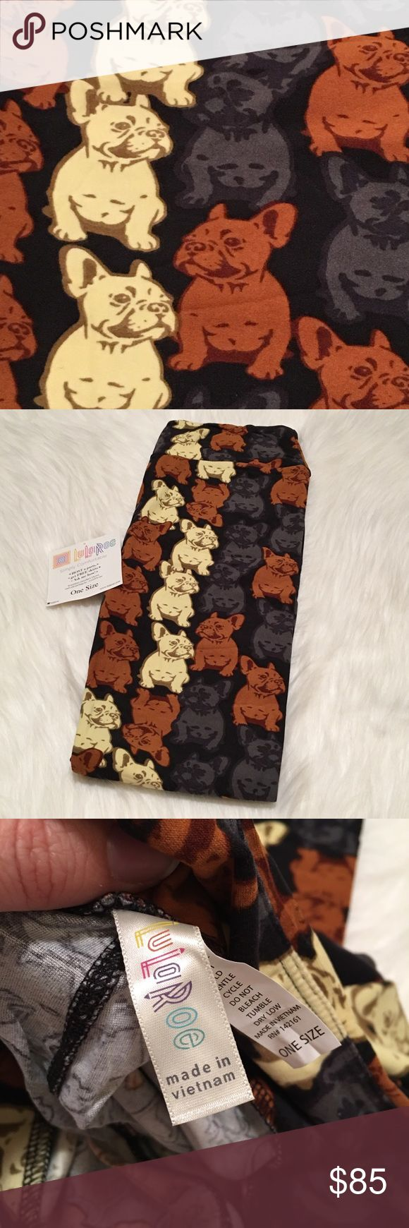 """🦄NWT LuLaRoe OS French Bulldog Leggings (UNICORN) **No comments on pricing. Price reflects how rare/hard to find the leggings are, amount of time spent searching for them & average sale prices of these """"unicorns"""" online.**   NWT, never worn. LuLaRoe leggings. The leggings that are """"buttery"""" soft! Pattern: French bulldogs, very hard to find!🦄 Size: One Size (OS). See size chart.  Made in: Vietnam.   🚫TRADES. Am open to *reasonable* offers on this pair. 😍 LuLaRoe Pants Leggings"""