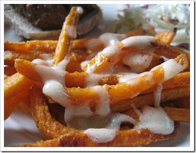 Sweet Potato Fry Dipping Sauce  1/2 cup mayonnaise 1/8 to 1/4 cup maple syrup ( depends on how sweet you want it) 1 1/2 Tablespoons brown sugar Mix all ingredients together till well blended.