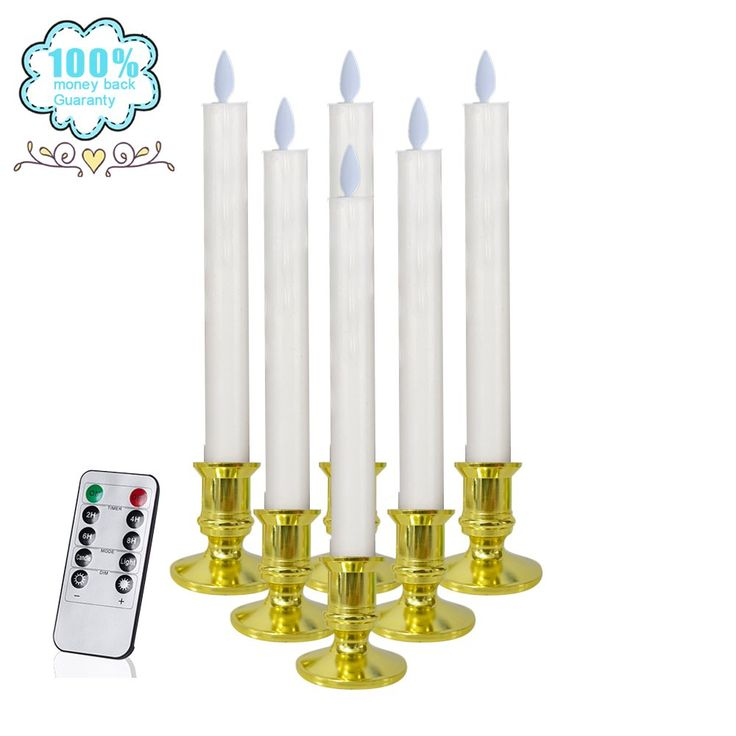 LED Taper Candles Flameless Battery Operated Realistic Moving Set of 6 Flickering Candles With Remote Timer(Battery NOT included) (White)