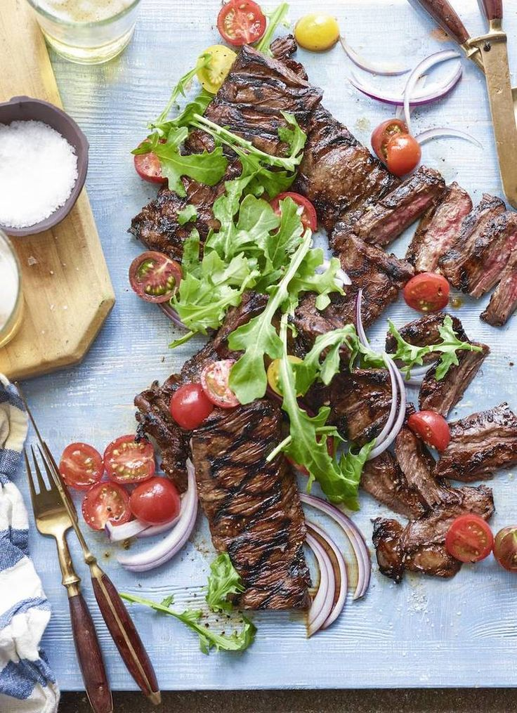 A super easy Grilled Skirt Steak with Tomato Salad makes a perfect summer meal | What's Gaby Cooking