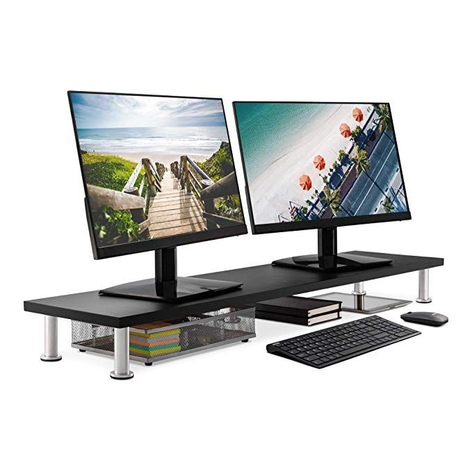 Large Dual Monitor Stand For Computer Screens Solid Bamboo Riser Support The Heaviest Monitors Printers Lap Dual Monitor Stand Computer Stand Monitor Stand