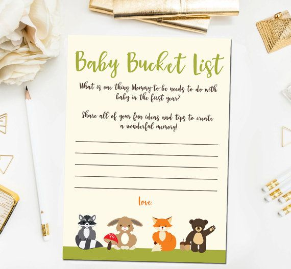 woodland baby shower games baby bucket list game baby shower games