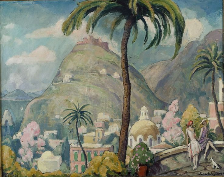 Capri, Italy | From a unique collection of landscape paintings at http://www.1stdibs.com/art/paintings/landscape-paintings/ Einer Wegener, Danish, circa 1920