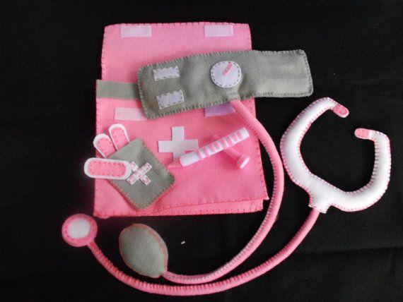 Buy 2 Get 1 FREE  Felt Toys Medical Bag Doctor For by somlalanta, $65.00