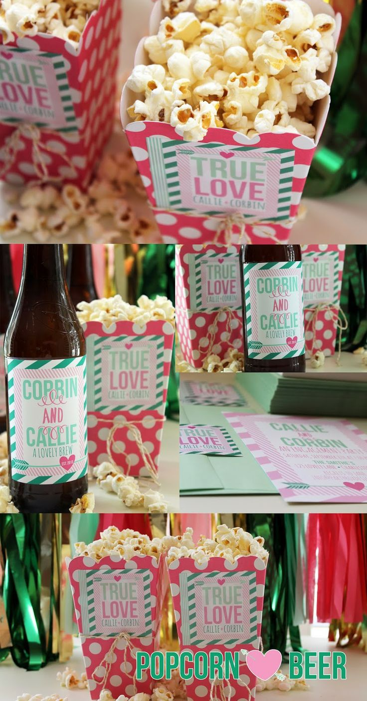 engagement party, popcorn, beer, beer labels, engagement party invitations, beer labels, bridal shower ideas via Party Box Design