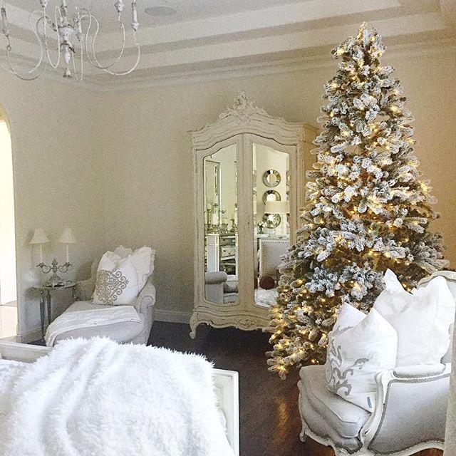 Elegant White Master Bedrooms: Master Bedroom Christmas Decor. White, Flocked, Fancy