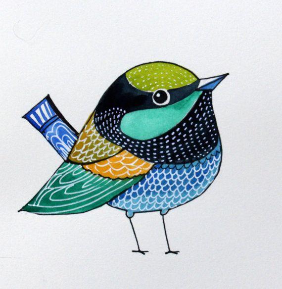 Green Bird / Bird Art/ Wall art/ Room Decor/ by sublimecolors, $19.99
