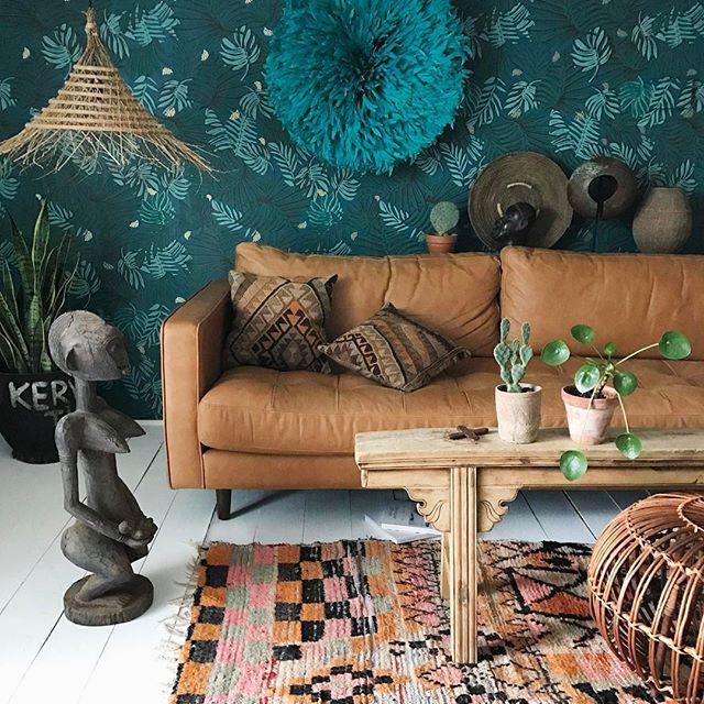 xx -- Aja wallpaper by @JustinaBlakeney , African (Bambara Mali) maternity statue, juju hat (Bamileke Cameroon), Chinese bench, Turkish kilim pillows, Moroccan Boujad rug