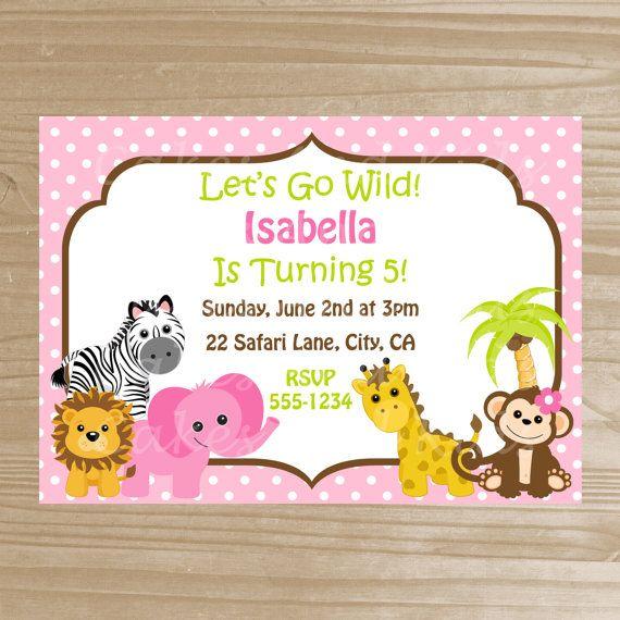 Safari Girl Animal Invitation - Girly Jungle Printable Invitation - Birthday Zoo Invitation - Digital File