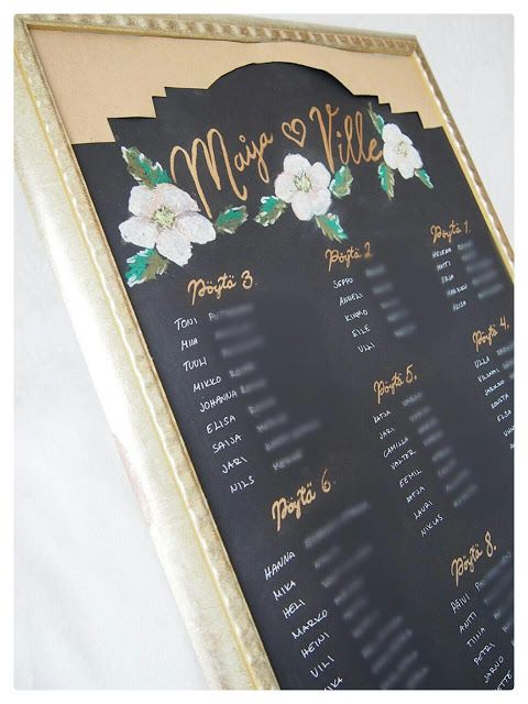 How to make a chalkboard seating chart using cardboard? Here is a pretty wedding tip! Miten tehdä liitutaulumainen pöytäkartta käyttäen kartonkia? Tässä nätti häävinkki!