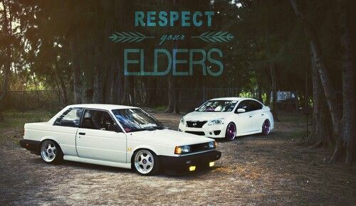 Nissan Sentra B12 old and new stanced jdm
