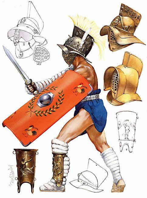 Gladiateur : mirmillon.  Illustration par Angus Mc Bride.