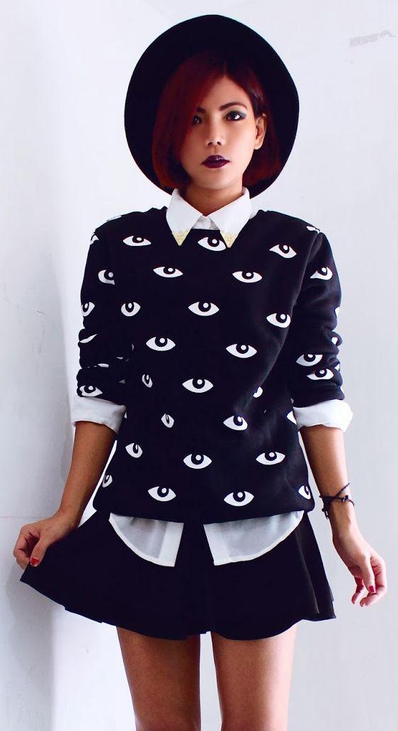 Eyes print sweatshirt with skirt & Hat