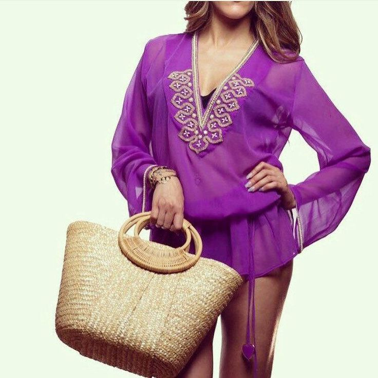 Purple and Gold Kaftan Tunic #beachstyle #tropical #beachwear #resortstyle #summerstyle