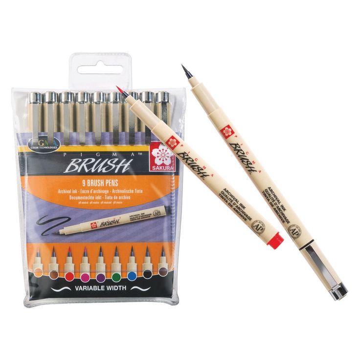 SAKURA PIGMA® Brush Pen Set Packung mit 9 Stiften