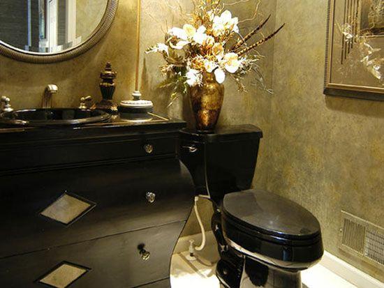 black and gold toilet.  BLACK GOLD BATHROOM SO ELEGANT 11 best Bathroom ideas images on Pinterest black