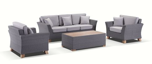 Flat Brushed Grey wicker with Textured Olefin Grey cushions