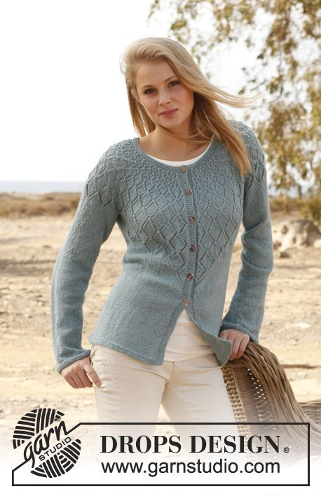 "Knitted DROPS jacket with lace pattern and round yoke in ""BabyAlpaca Silk"". Size: S - XXXL. ~ DROPS Design"