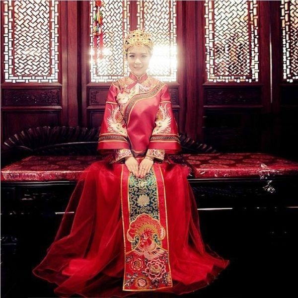 复古中式结婚礼服 喜服 秀禾服新娘礼服 唐装秀和服 结婚敬酒礼服