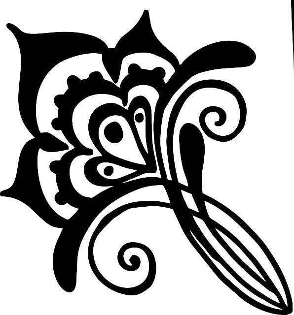Blomma, Henna, Vinstockar, Virvel, Teckningar, Siluett