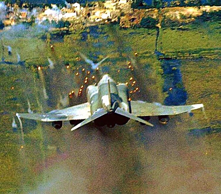 A USAF F-4 Phantom unleashes its fury on the enemy during the Vietnam war.