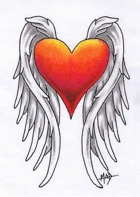 heart wings tattoo designs - Google Search